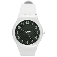 Dark Green Scales Round Plastic Sport Watch (m) by trendistuff