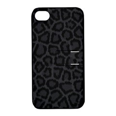 Black Leopard Print Apple Iphone 4/4s Hardshell Case With Stand by trendistuff