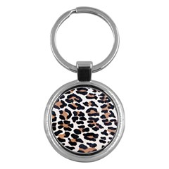 Black And Brown Leopard Key Chains (round)  by trendistuff