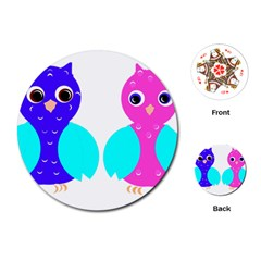 Owl Couple  Playing Cards (round)  by JDDesigns