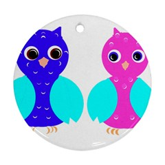 Owl Couple  Round Ornament (two Sides)  by JDDesigns