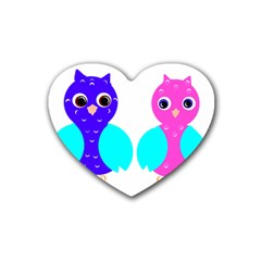 Owl Couple  Rubber Coaster (heart)  by JDDesigns
