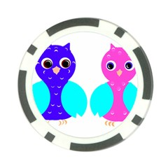 Owl Couple  Poker Chip Card Guards