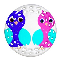 Owl Couple  Ornament (round Filigree)  by JDDesigns