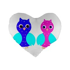 Owl Couple  Standard 16  Premium Flano Heart Shape Cushions by JDDesigns