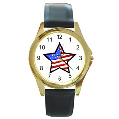 USA Flag Star Round Gold Metal Watch from CowCow.com Front