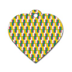Connected Rectangles Pattern Dog Tag Heart (one Side) by LalyLauraFLM