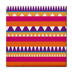 Stripes And Peaks Tile Coaster by LalyLauraFLM