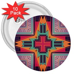 Tribal Star 3  Button (10 Pack) by LalyLauraFLM