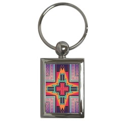 Tribal Star Key Chain (rectangle) by LalyLauraFLM