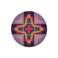 Tribal Star Rubber Coaster (round) by LalyLauraFLM