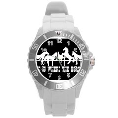 Home Is Where The Horse Is Round Plastic Sport Watch (l) by allthingseveryday