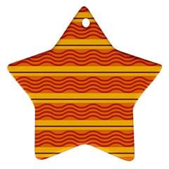 Red Waves Ornament (star) by LalyLauraFLM