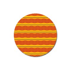 Red Waves Magnet 3  (round) by LalyLauraFLM