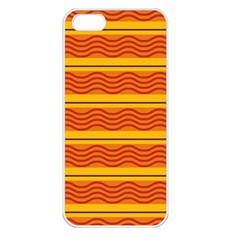 Red Waves Apple Iphone 5 Seamless Case (white) by LalyLauraFLM