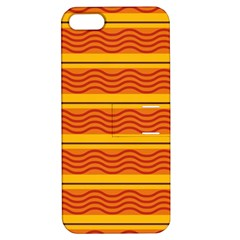 Red Waves Apple Iphone 5 Hardshell Case With Stand by LalyLauraFLM