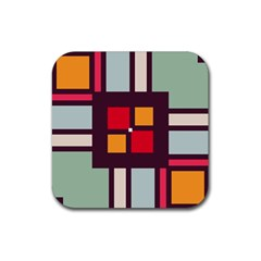 Squares And Stripes  Rubber Square Coaster (4 Pack) by LalyLauraFLM