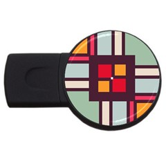 Squares And Stripes  Usb Flash Drive Round (4 Gb) by LalyLauraFLM