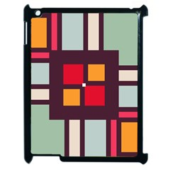 Squares And Stripes  Apple Ipad 2 Case (black) by LalyLauraFLM