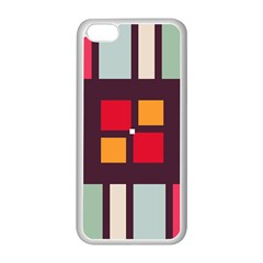 Squares And Stripes  Apple Iphone 5c Seamless Case (white) by LalyLauraFLM