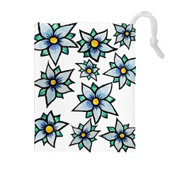 Blue Flowers Cute Spring Drawstring Pouches (extra Large)