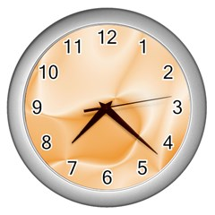Colors In Motion,peach Wall Clocks (silver)  by MoreColorsinLife