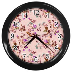 Antique Floral Pattern Wall Clock (black) by LovelyDesigns4U