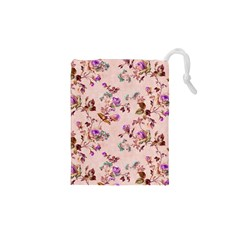 Antique Floral Pattern Drawstring Pouch (xs) by LovelyDesigns4U