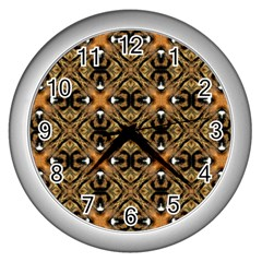 Faux Animal Print Pattern Wall Clocks (silver)  by creativemom