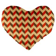 Modern Retro Chevron Patchwork Pattern  Large 19  Premium Flano Heart Shape Cushions by creativemom