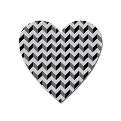 Modern Retro Chevron Patchwork Pattern  Heart Magnet by creativemom