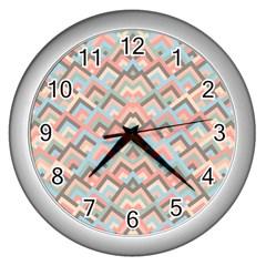 Trendy Chic Modern Chevron Pattern Wall Clocks (silver)  by creativemom