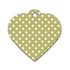 Lime Green Polka Dots Dog Tag Heart (Two Sides) by creativemom