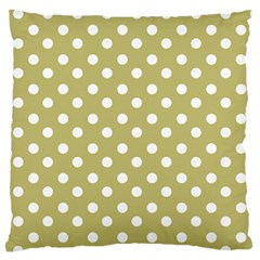 Lime Green Polka Dots Large Flano Cushion Cases (One Side)  by creativemom