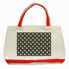 Gray Polka Dots Classic Tote Bag (red)  by creativemom