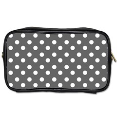 Gray Polka Dots Toiletries Bags 2 Side by creativemom