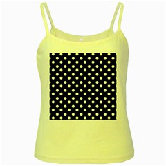 Black And White Polka Dots Yellow Spaghetti Tanks by creativemom