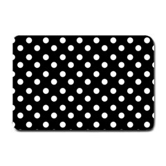 Black And White Polka Dots Small Doormat  by creativemom