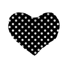 Black And White Polka Dots Standard 16  Premium Heart Shape Cushions by creativemom