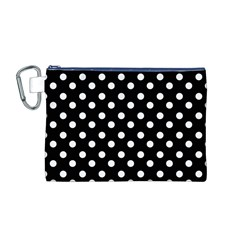 Black And White Polka Dots Canvas Cosmetic Bag (M) by creativemom