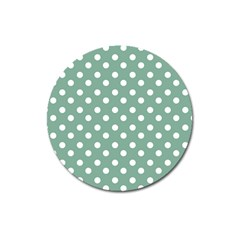 Mint Green Polka Dots Magnet 3  (round) by creativemom