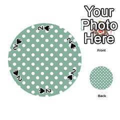 Mint Green Polka Dots Playing Cards 54 (round)