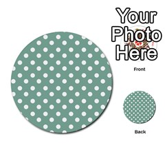 Mint Green Polka Dots Multi Purpose Cards (round)  by creativemom