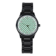 Mint Green Polka Dots Stainless Steel Round Watches by creativemom