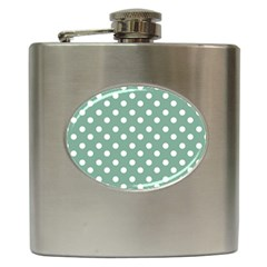 Mint Green Polka Dots Hip Flask (6 Oz) by creativemom