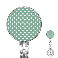 Mint Green Polka Dots Stainless Steel Nurses Watches by creativemom