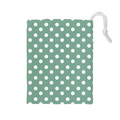 Mint Green Polka Dots Drawstring Pouches (large)  by creativemom
