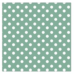 Mint Green Polka Dots Large Satin Scarf (Square) by creativemom