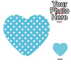 Sky Blue Polka Dots Multi Purpose Cards (heart)