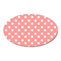 Coral And White Polka Dots Oval Magnet by creativemom